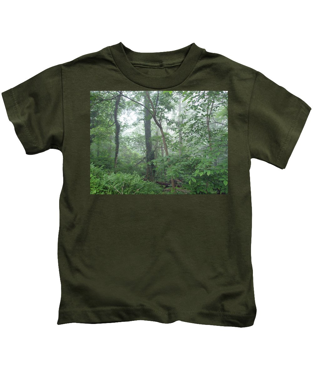 Woods Kids T-Shirt featuring the photograph Foggy Morning In The Woods by Mother Nature