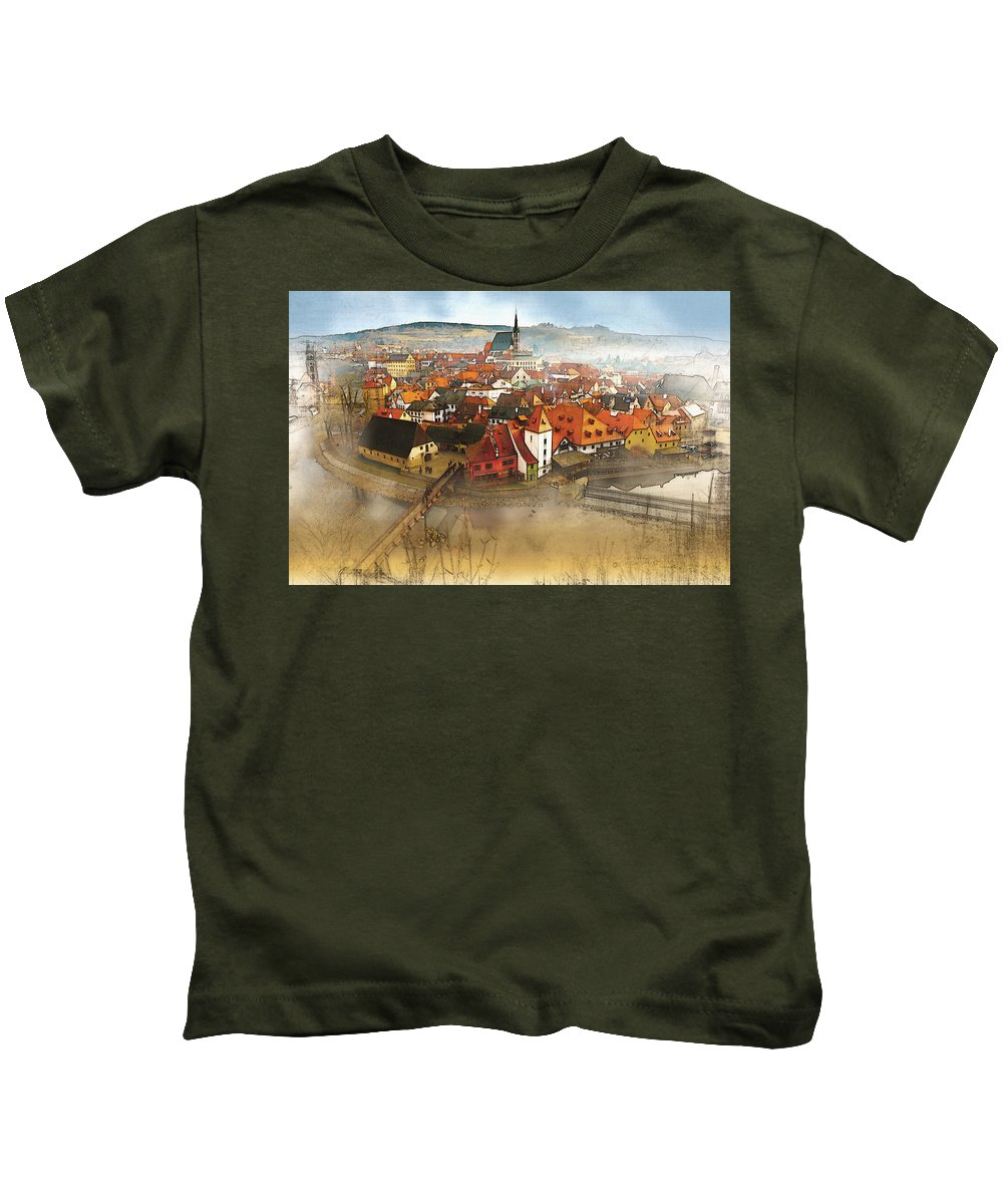 Home Art & Collectibles Kids T-Shirt featuring the digital art Foggy Small Town by Don Kuing