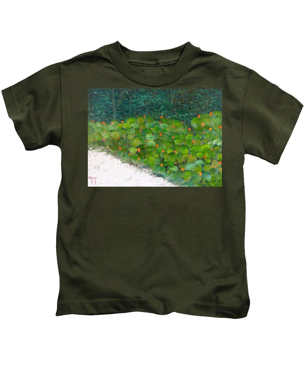 Foliage At Sanibel Island Fort Myers Florida Sand Beaches Beauty Warmth Walk Sea Shells Biking Kids T-Shirt featuring the painting Foliage At Sanibel by Troy Thomas