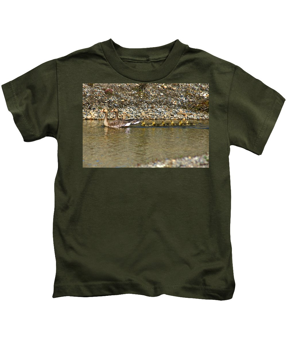 Ducks Kids T-Shirt featuring the photograph Follow The Leader by Anthony Jones