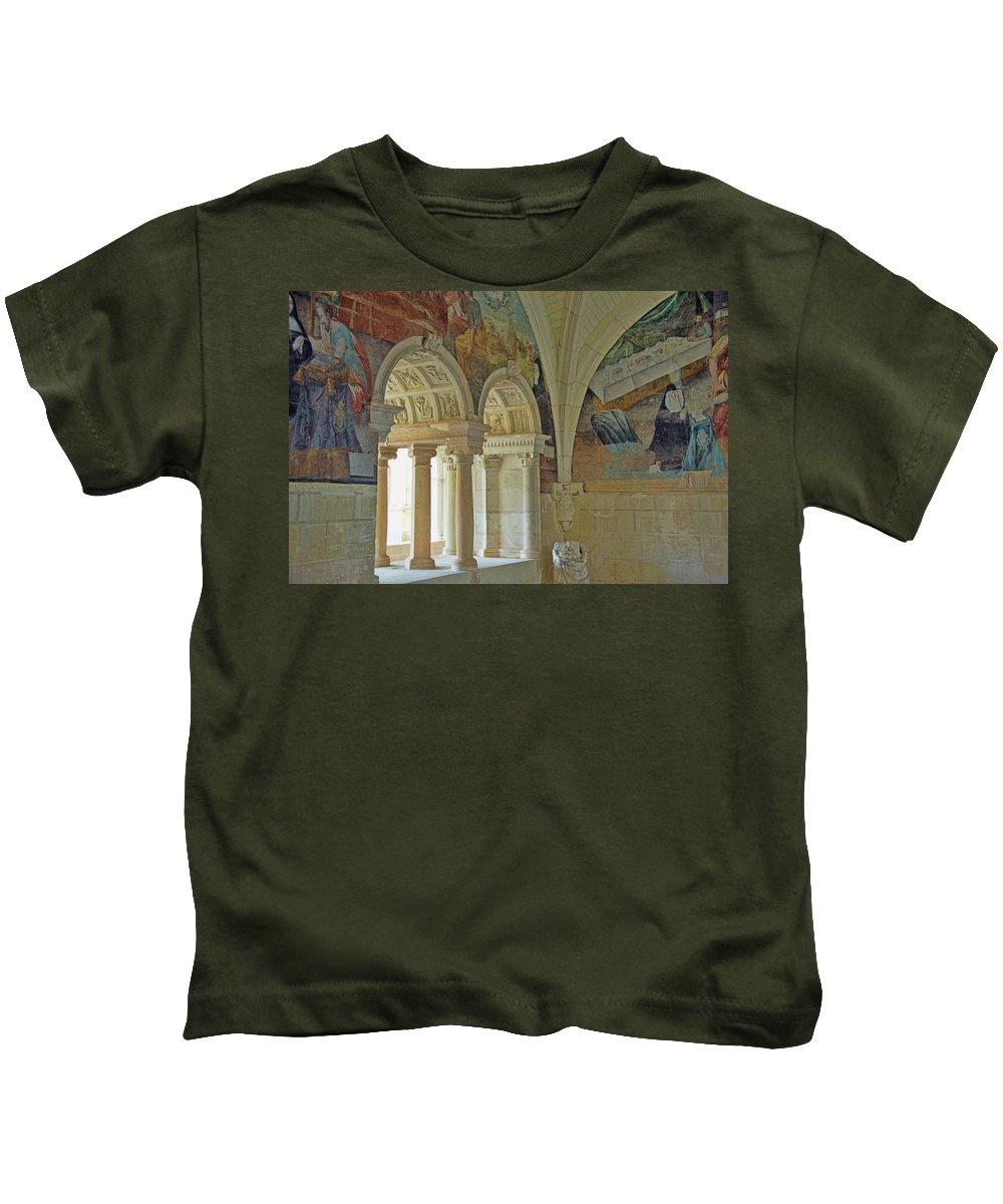 Fontevraud Abbey Refectory Kids T-Shirt featuring the photograph Fontevraud Abbey Refectory, Loire, France by Curt Rush