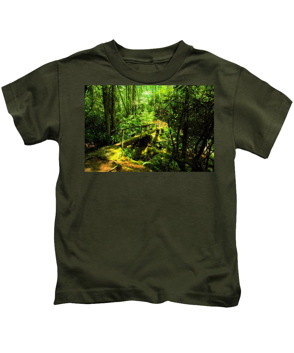 Art Kids T-Shirt featuring the painting Foot Bridge by David Lee Thompson