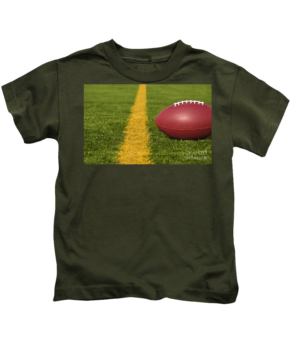 America Kids T-Shirt featuring the photograph Football Short Of The Goal Line Close by SAJE Photography