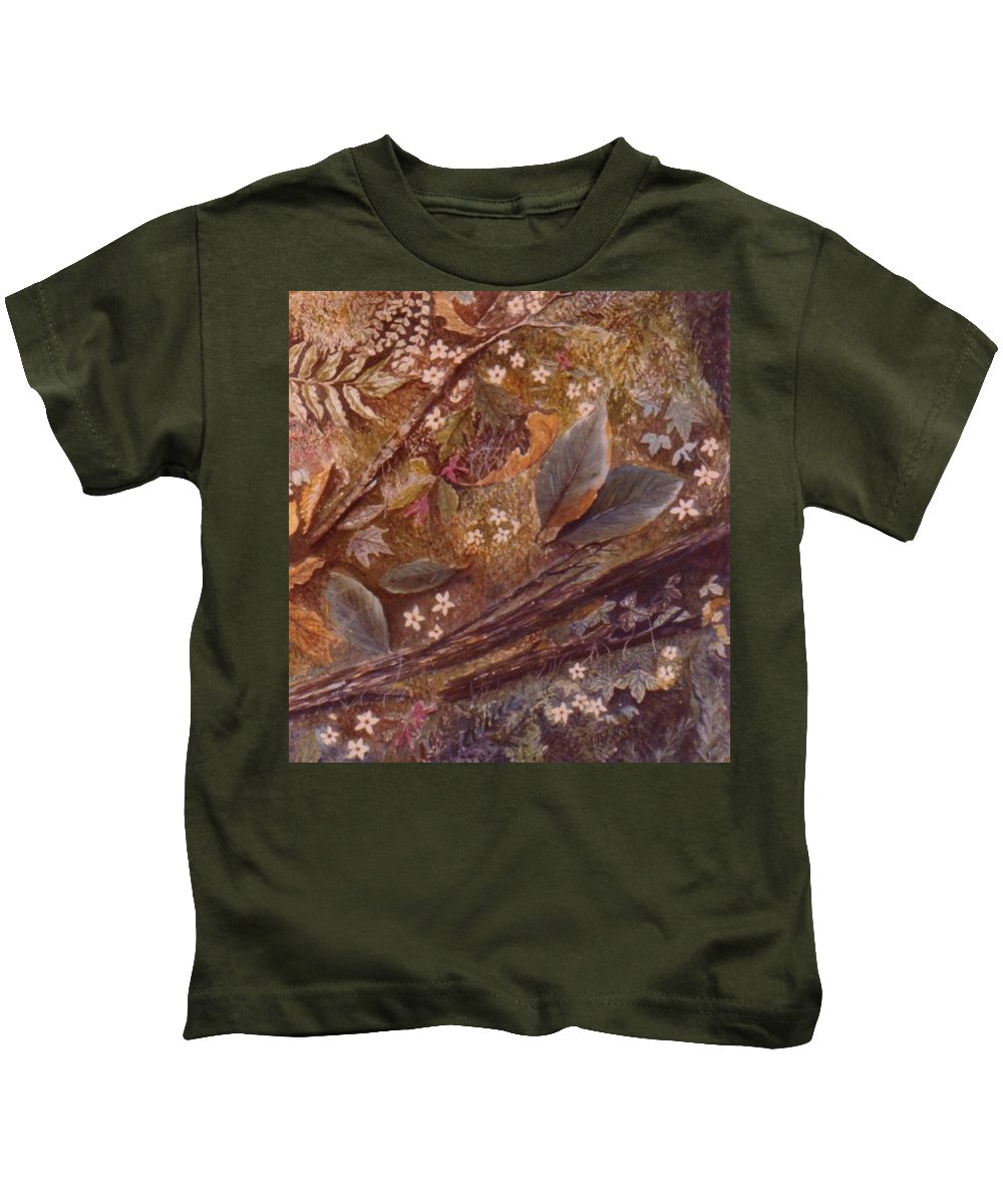Leaves; Forest; Flowers Kids T-Shirt featuring the painting Forest Floor by Ben Kiger