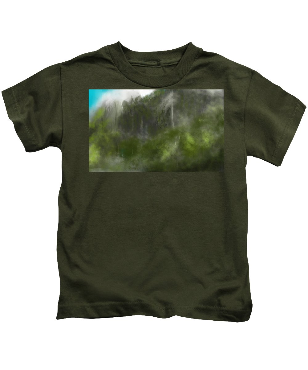 Digital Art Kids T-Shirt featuring the digital art Forest Landscape 10-31-09 by David Lane