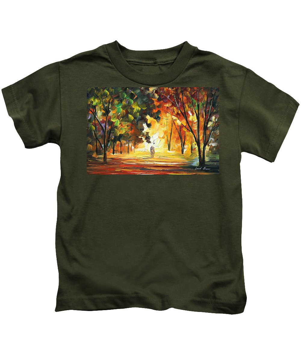 Afremov Kids T-Shirt featuring the painting Forest by Leonid Afremov