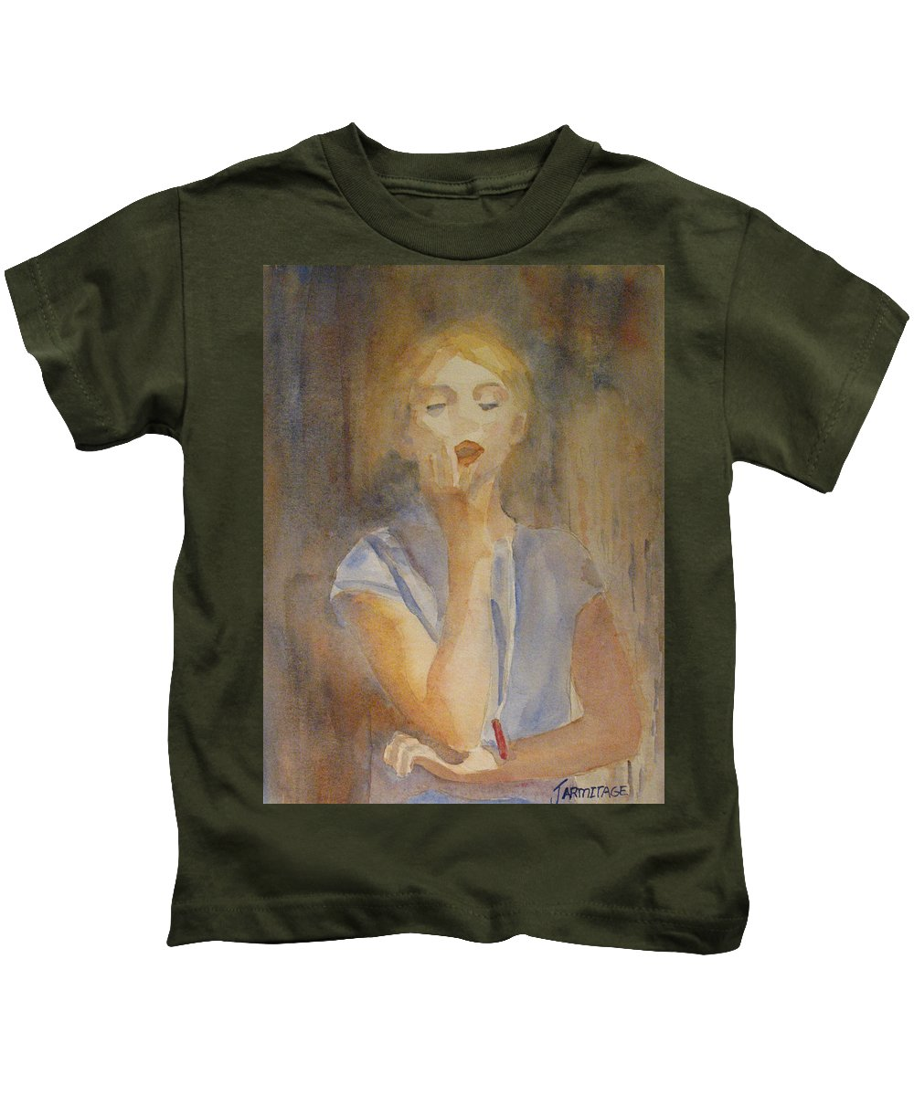 Woman Kids T-Shirt featuring the painting Forest Singer by Jenny Armitage