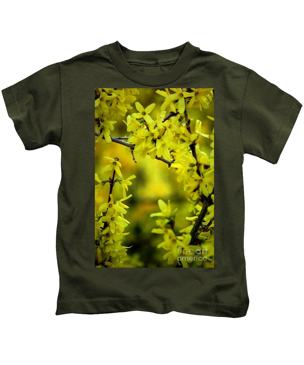 Spring Kids T-Shirt featuring the photograph Forsythia At The Hacienda by David Lane