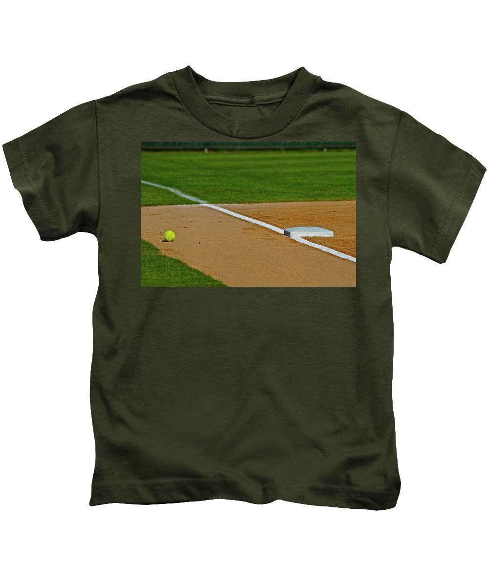 Softball Kids T-Shirt featuring the photograph Foul Up The Line by Laddie Halupa