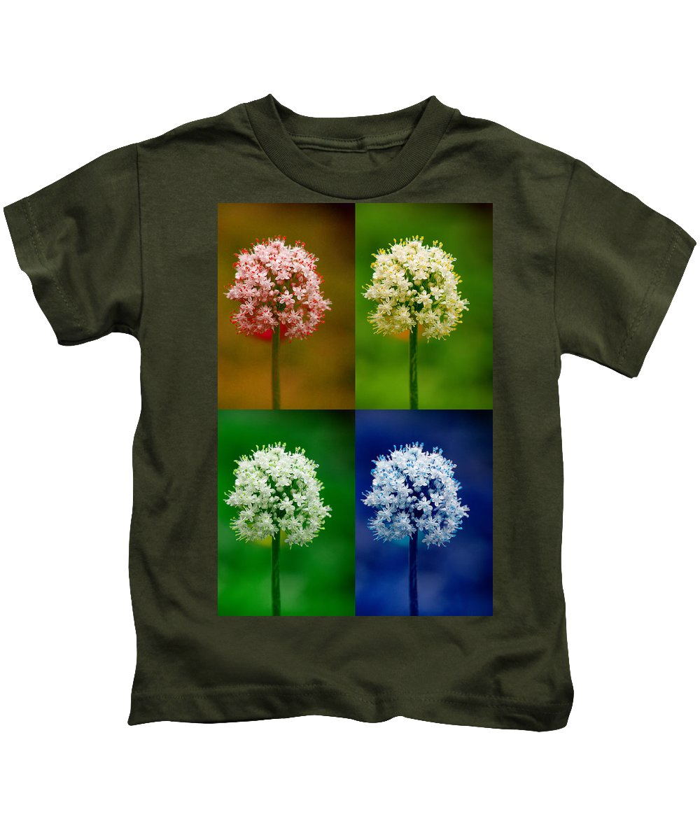 Flowers Kids T-Shirt featuring the photograph Four Colorful Onion Flower Power by James BO Insogna