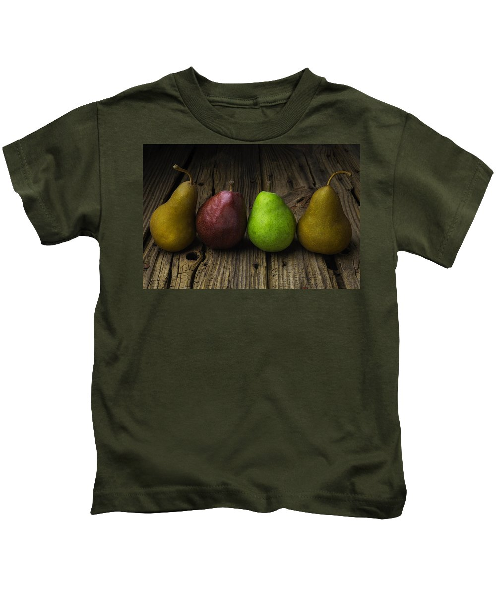 Four Kids T-Shirt featuring the photograph Four Pears Still Life by Garry Gay