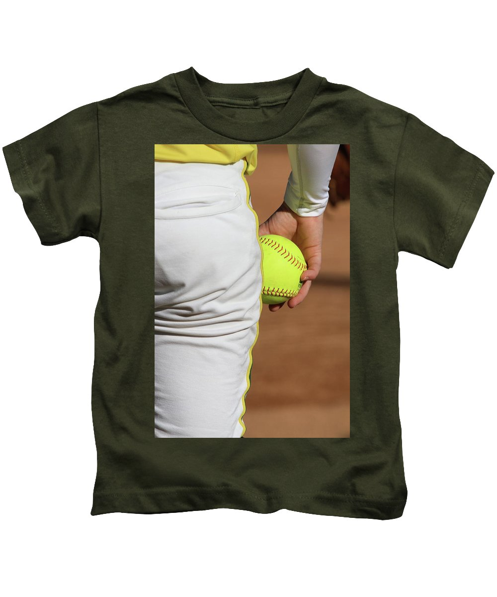 Softball Kids T-Shirt featuring the photograph Four Seam by Laddie Halupa