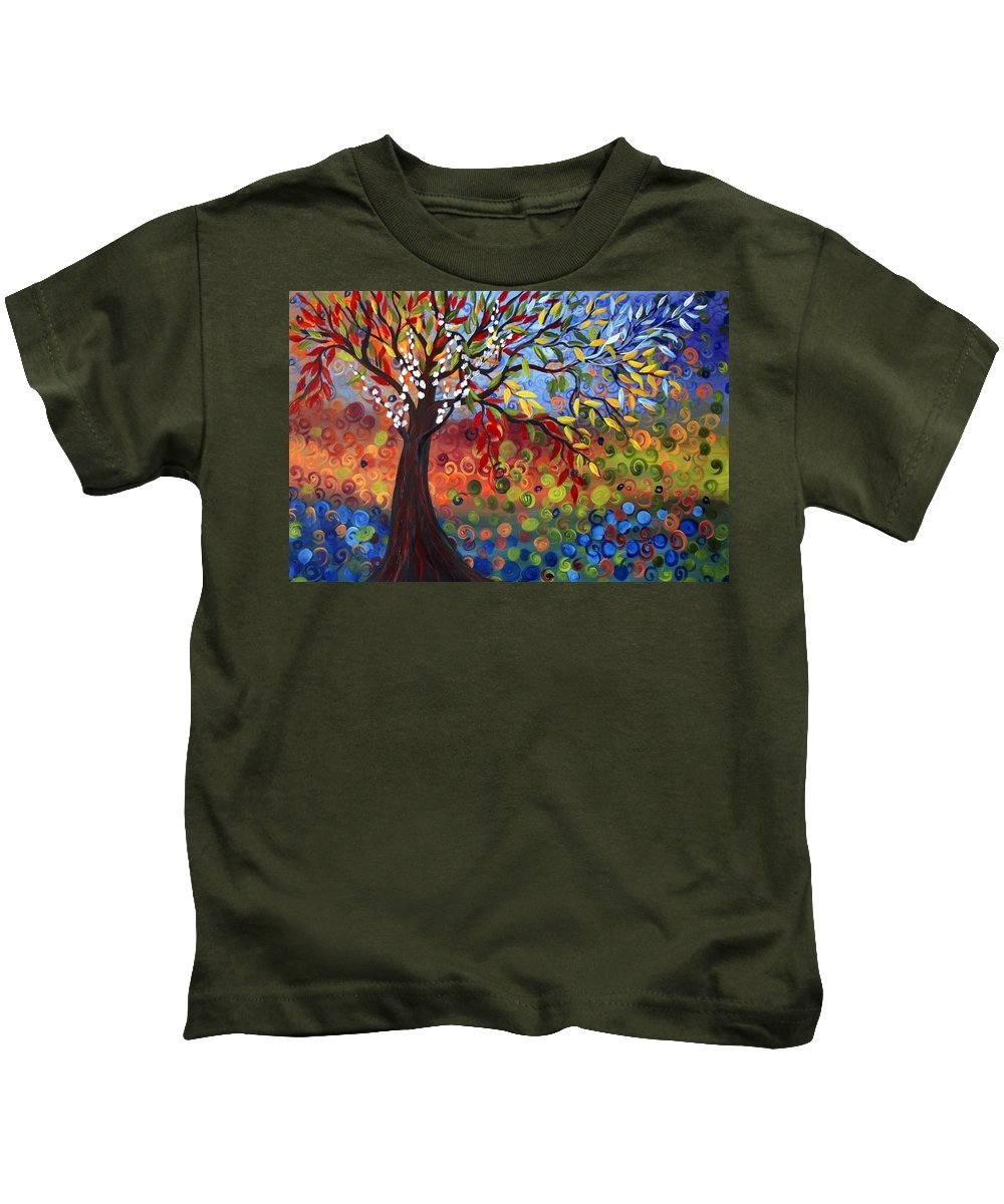 Art Kids T-Shirt featuring the painting Four Seasons by Luiza Vizoli
