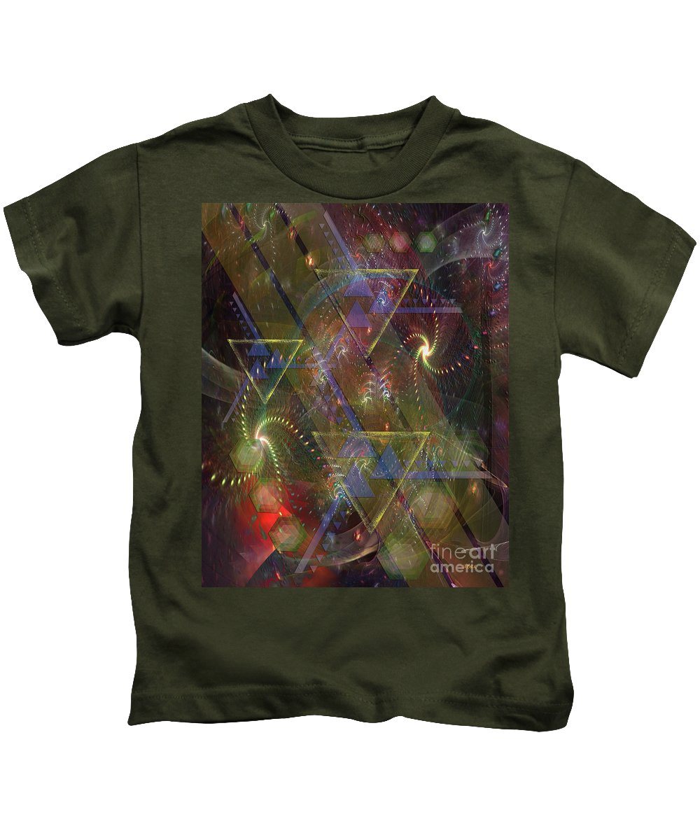 Fireworks Kids T-Shirt featuring the digital art Fourth Of July by John Beck