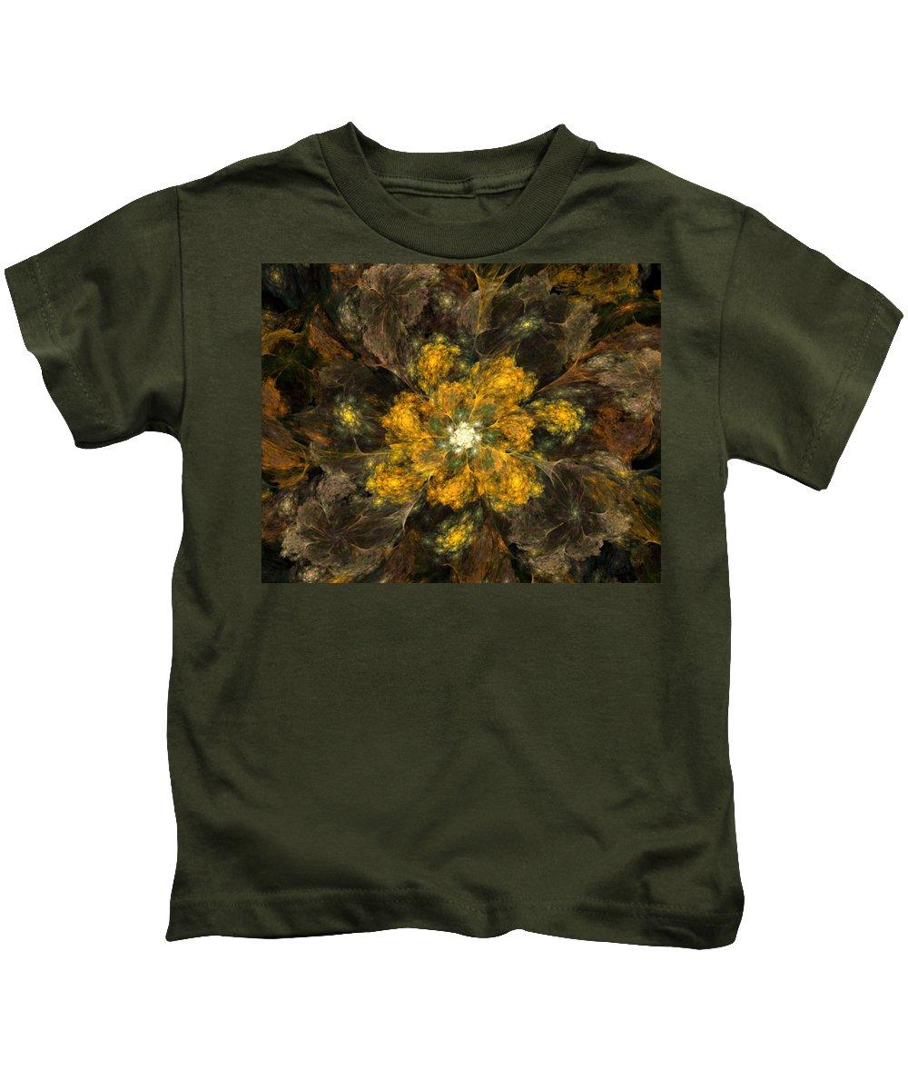 Digital Painting Kids T-Shirt featuring the digital art Fractal Floral 02-12-10 by David Lane