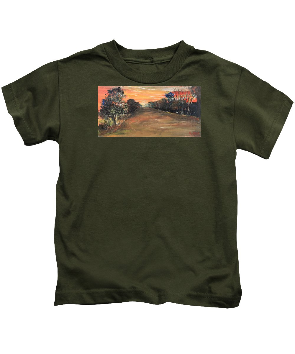 Sunset Kids T-Shirt featuring the painting Freedom Road by Remegio Onia