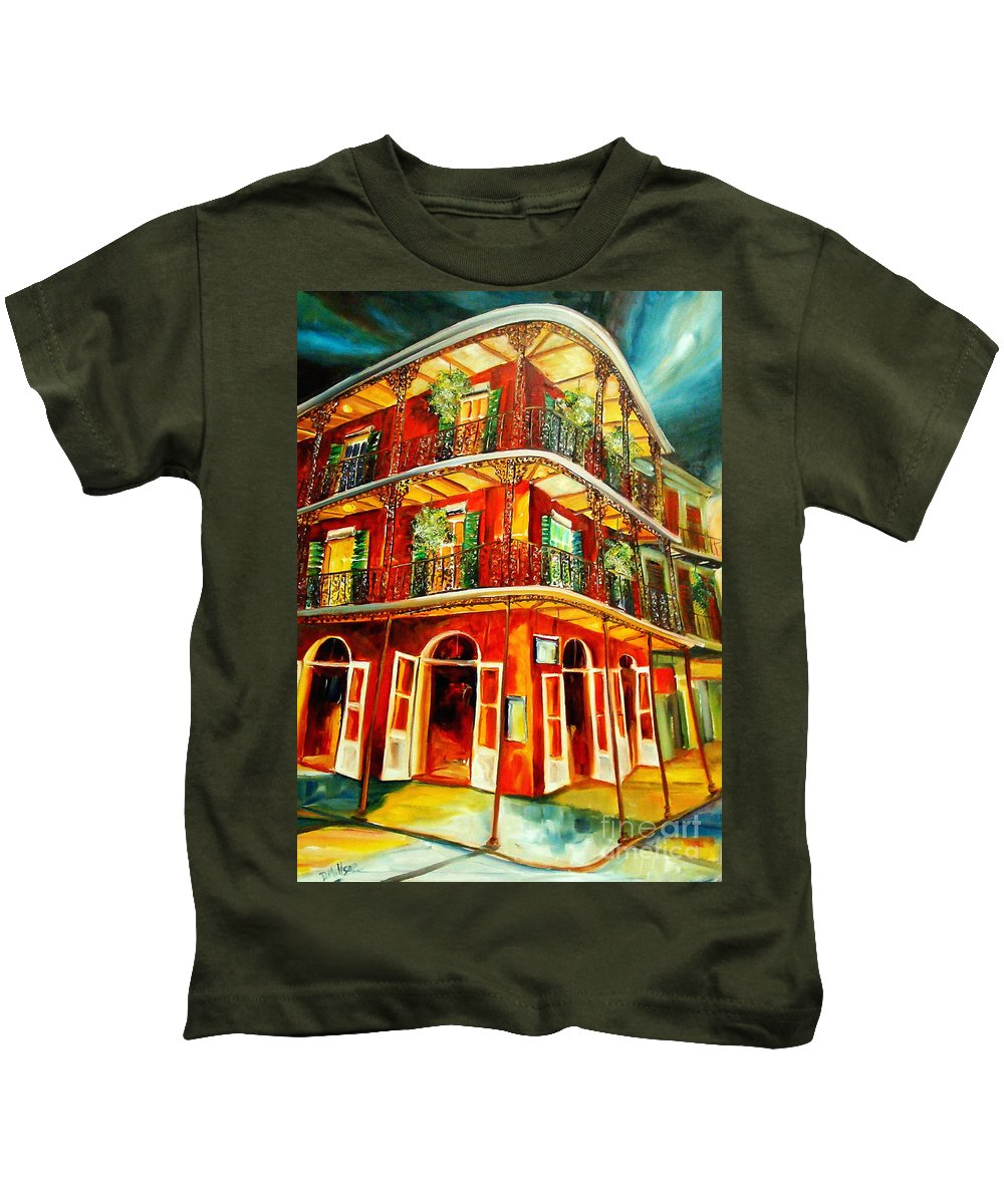 New Orleans Kids T-Shirt featuring the painting French Quarter Corner by Diane Millsap