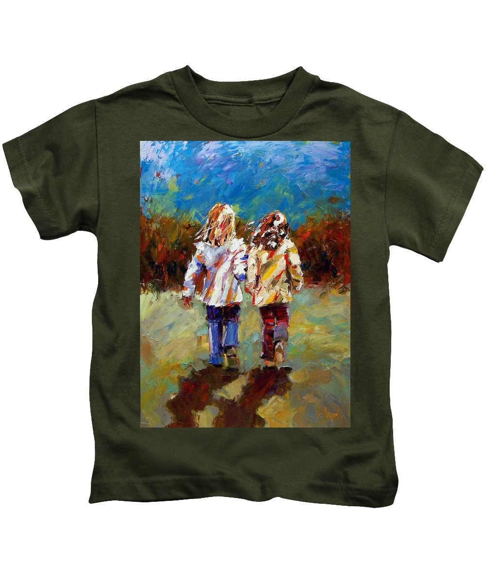 Girls Kids T-Shirt featuring the painting Friends Forever by Debra Hurd