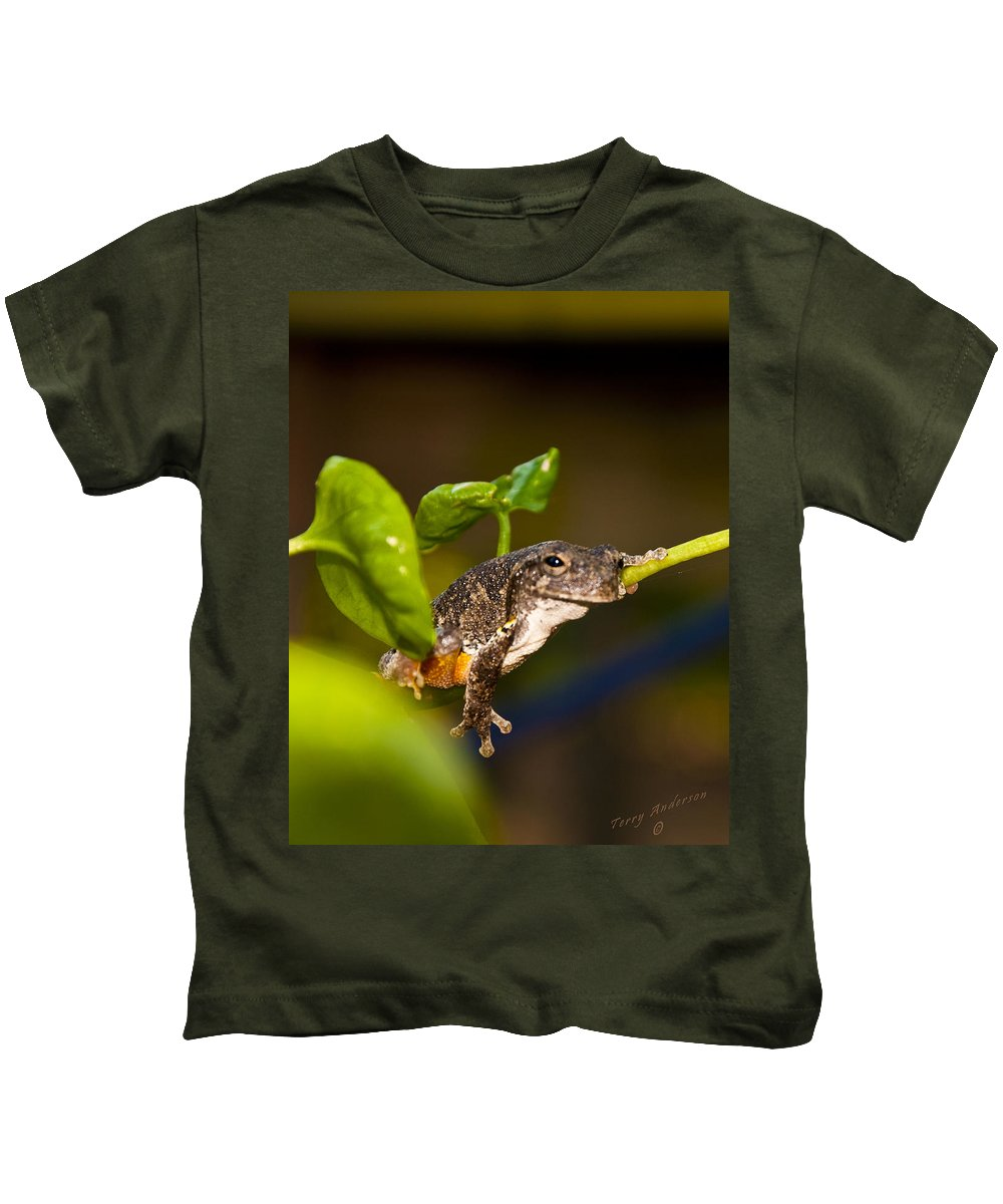Frog Kids T-Shirt featuring the photograph Frogs Life by Terry Anderson