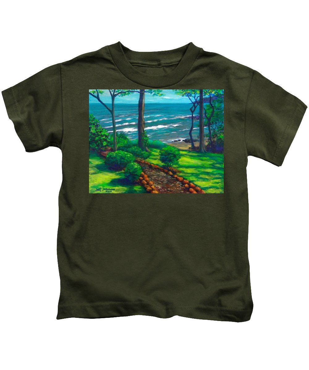 Costa Rica Kids T-Shirt featuring the painting From The Hacienda by Jeanette Jarmon