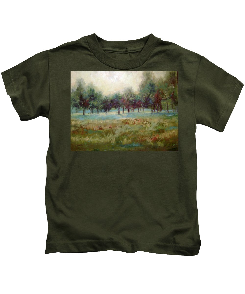 Country Scenes Kids T-Shirt featuring the painting From The Other Side by Ginger Concepcion
