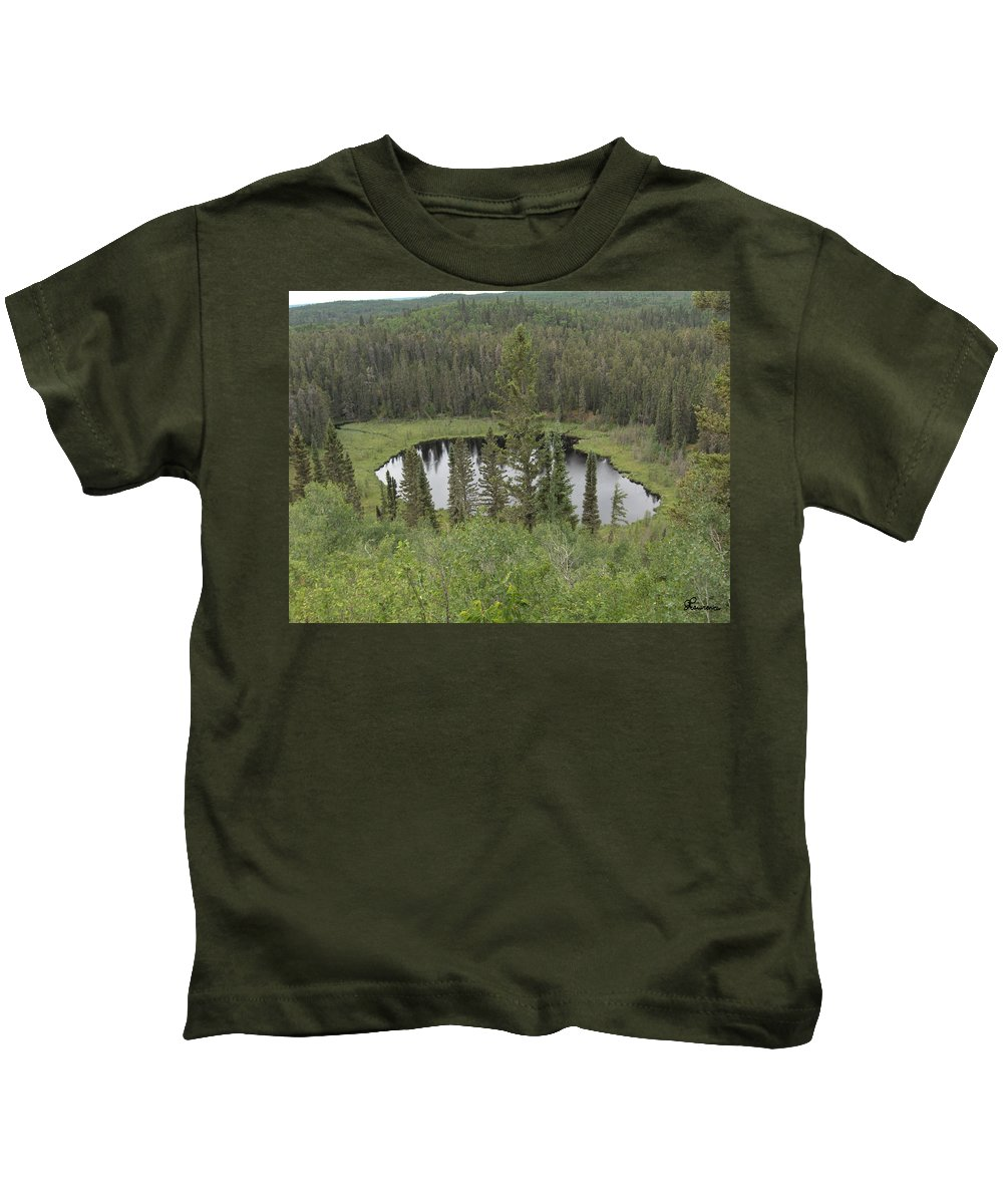 Esker Hills Saskatchewan Hanson Lake Road Lake Forest Water Trees Evergreen Scenery Wild Pond Kids T-Shirt featuring the photograph From The Top Of Esker Hills by Andrea Lawrence