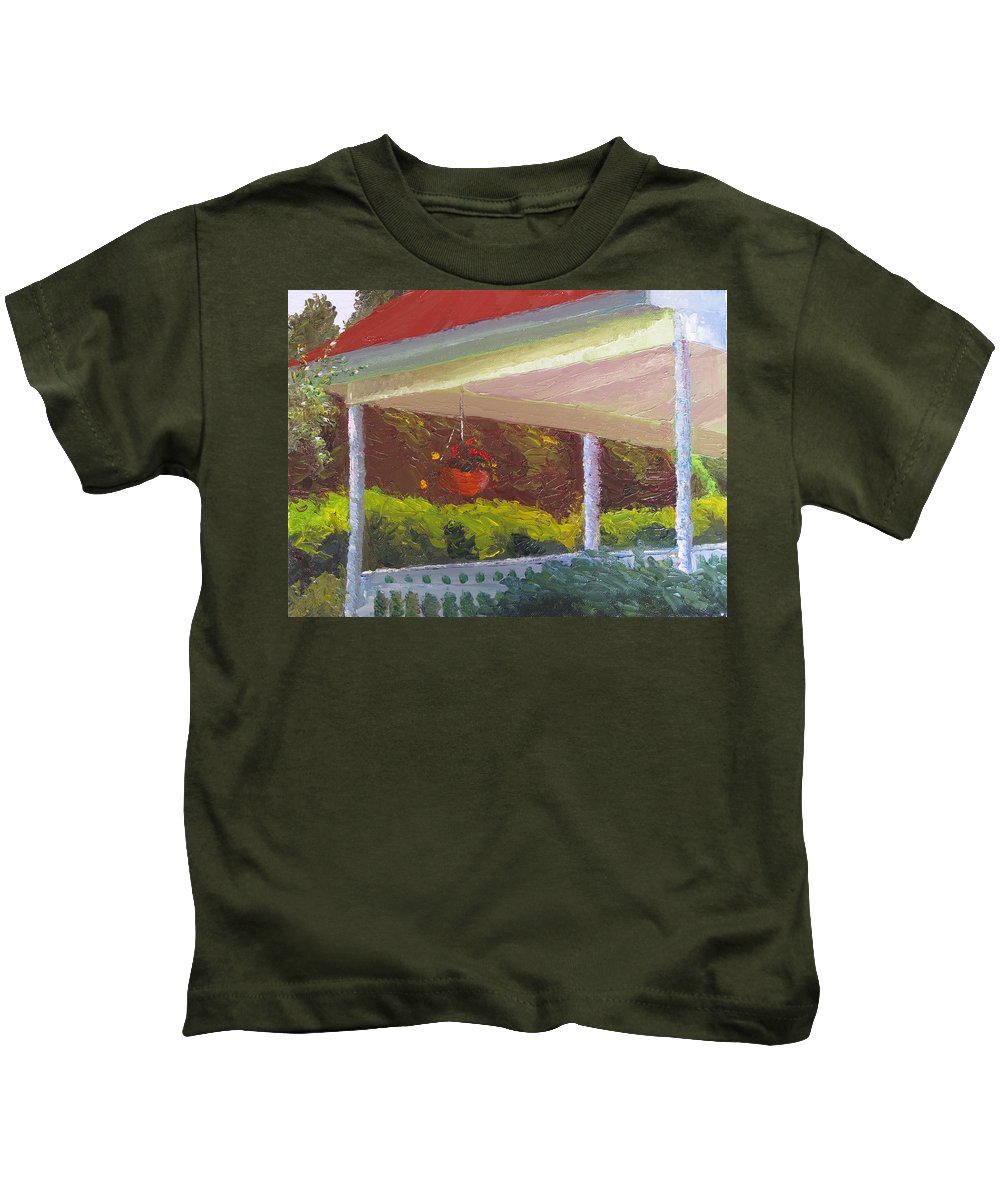 Landscape Painting Kids T-Shirt featuring the painting Front Porch - Morning by Lea Novak