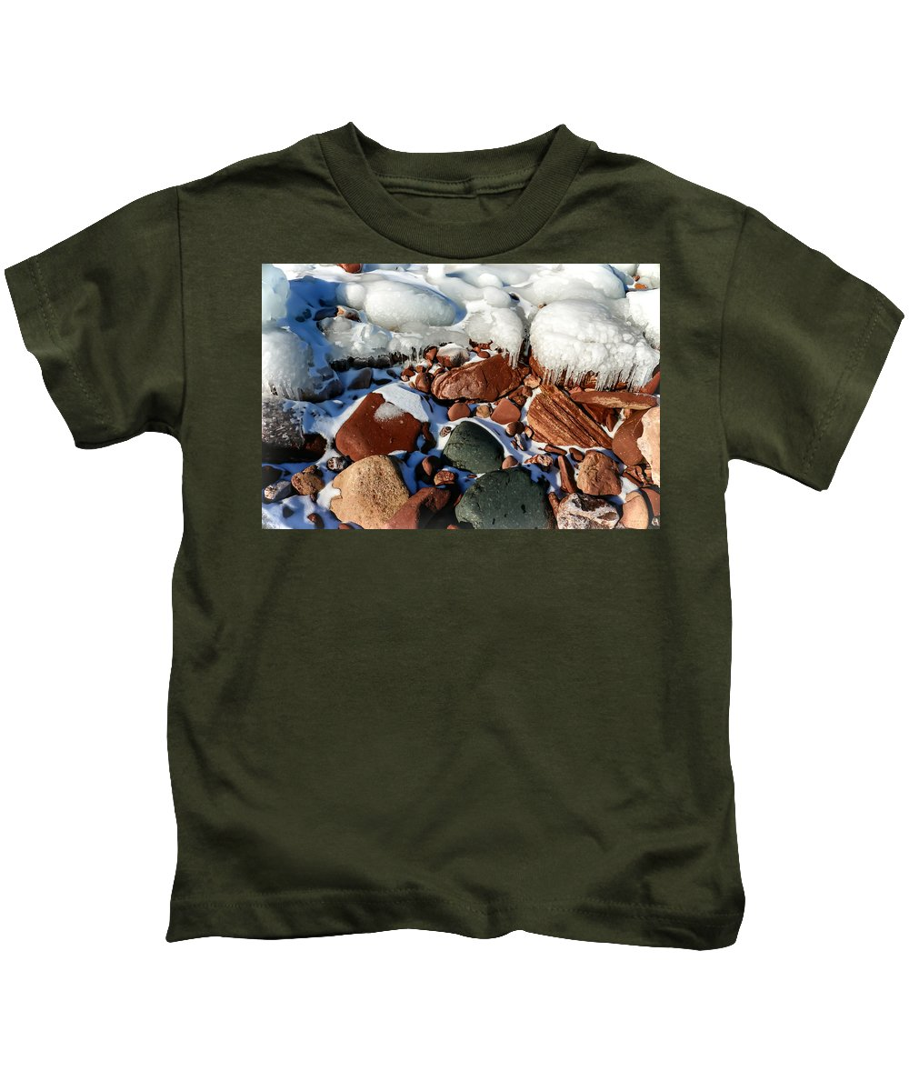 Landscape Kids T-Shirt featuring the photograph Frozen Rocks by Mary Stilwell