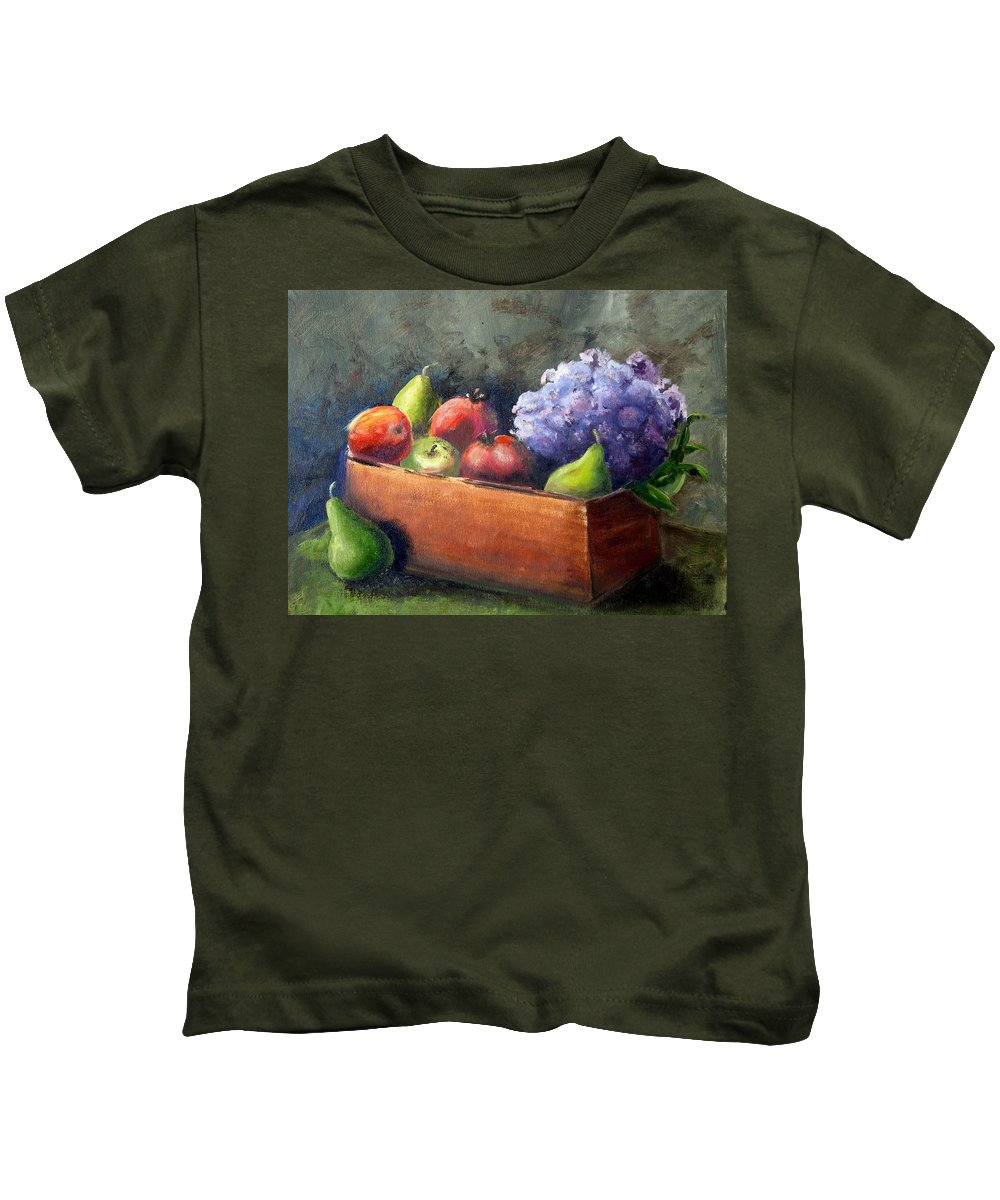 Hydrangea Kids T-Shirt featuring the painting Fruit With Hydrangea by Patricia Caldwell