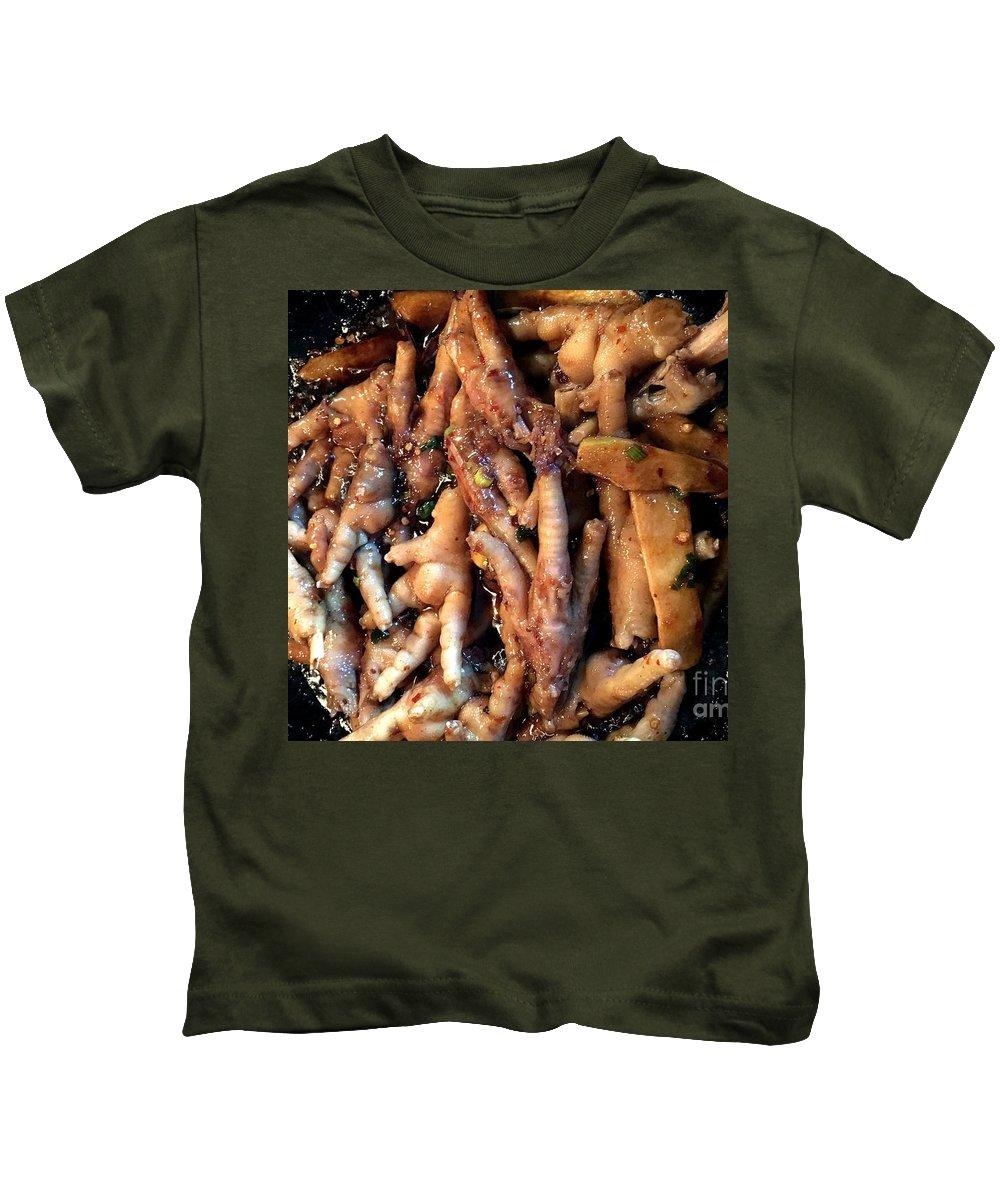 Chicken Kids T-Shirt featuring the photograph Frying Chicken Feet by Henrik Lehnerer