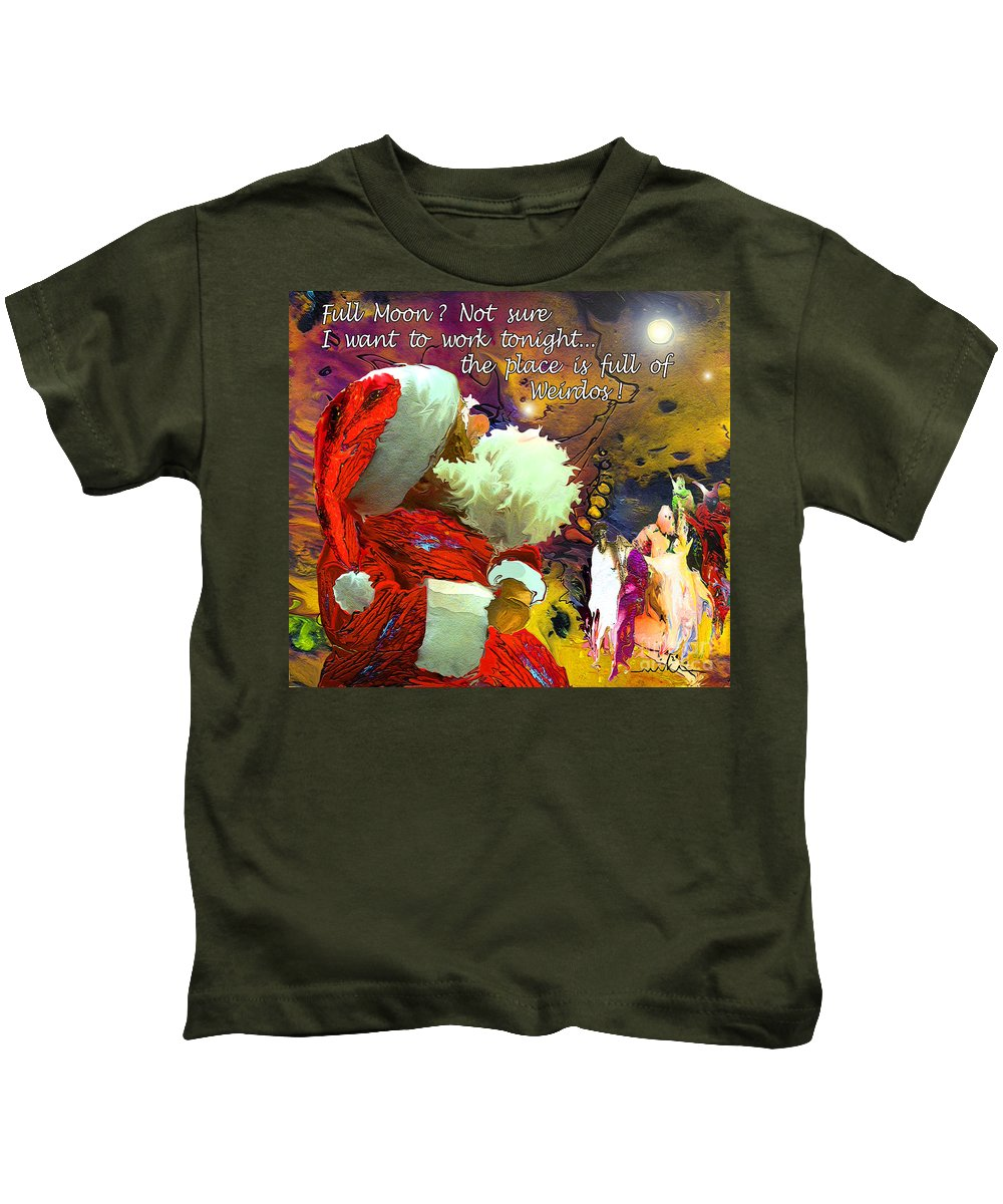 Fantasy Painting Kids T-Shirt featuring the painting Full Moon by Miki De Goodaboom