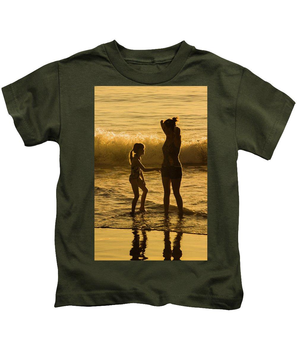 2009 Kids T-Shirt featuring the digital art Fun At The Beach by Amer Khwaja