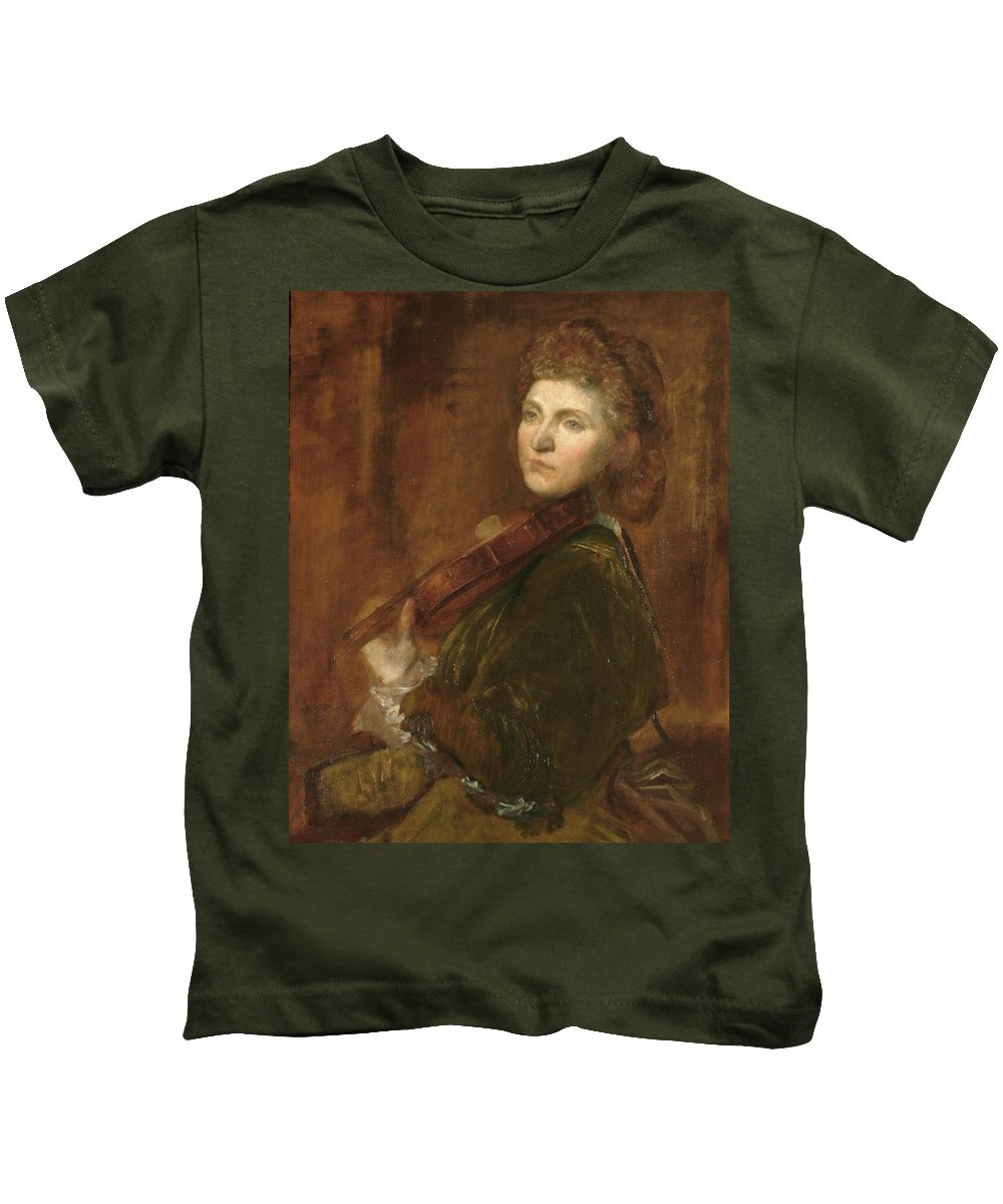 Lady Hallé (woman Playing Violin) Kids T-Shirt featuring the painting G F Watts by MotionAge Designs
