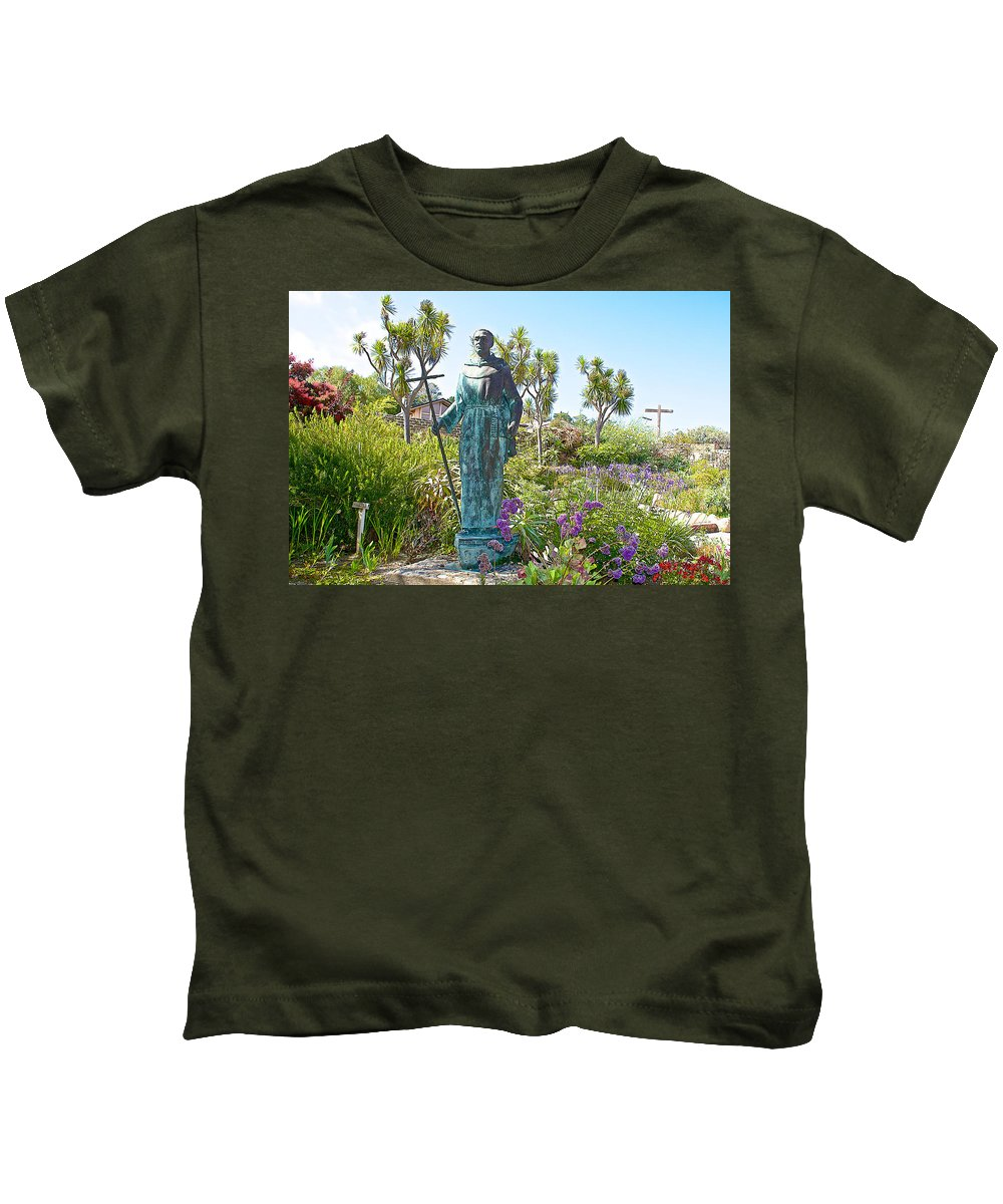 Garden At Carmel Mission Kids T-Shirt featuring the photograph Garden At Carmel Mission-california by Ruth Hager