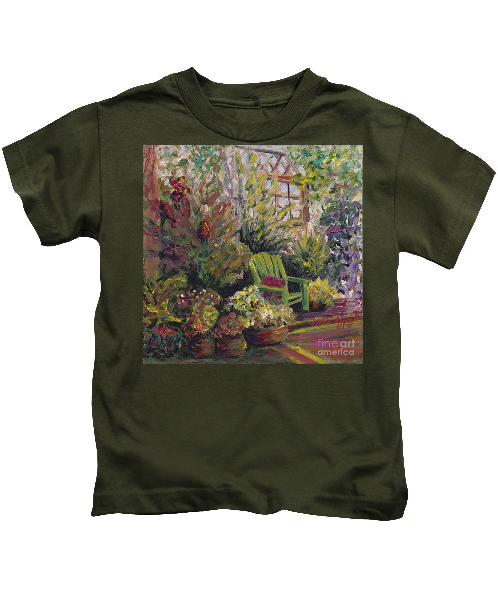 Green Kids T-Shirt featuring the painting Garden Escape by Nadine Rippelmeyer