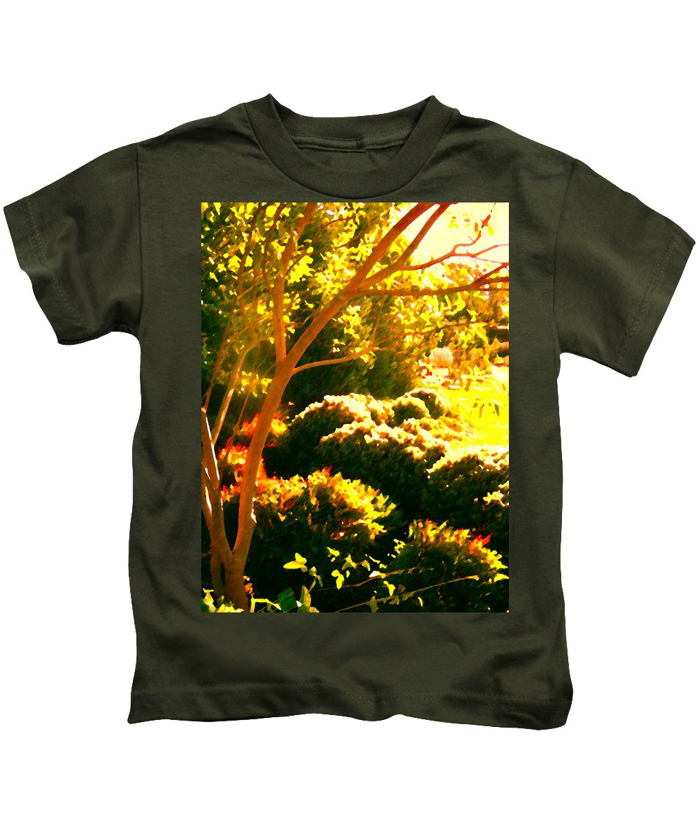 Landscapes Kids T-Shirt featuring the painting Garden Landscape On A Sunny Day by Amy Vangsgard