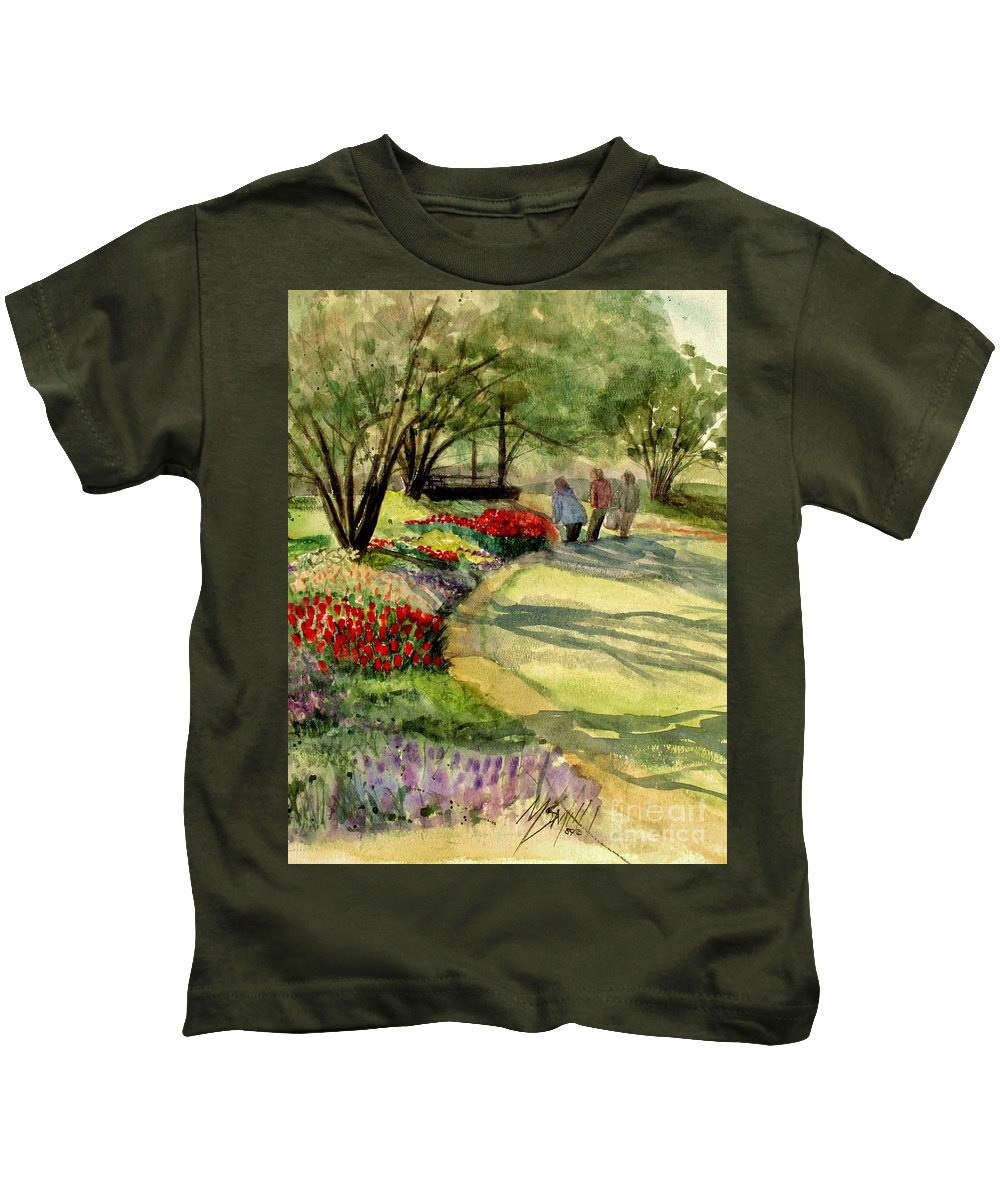 Flowers Kids T-Shirt featuring the painting Garden Walk by Marilyn Smith