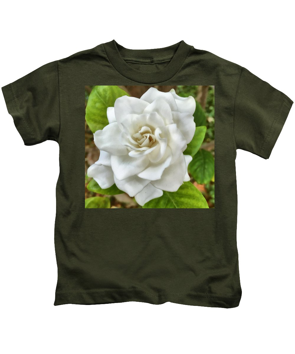 Gardenia Kids T-Shirt featuring the digital art Gardenia by Sandy Taylor