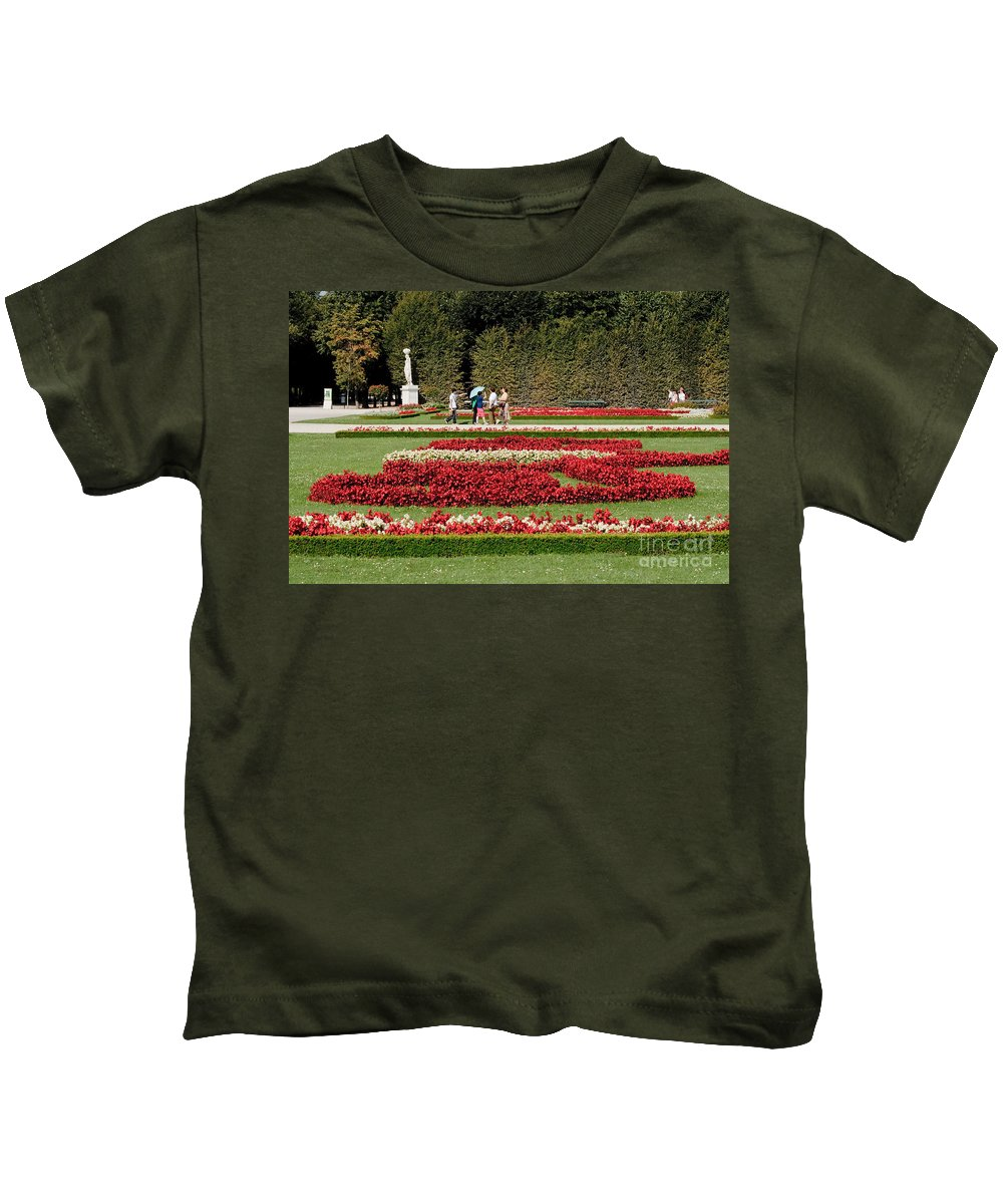 Schonbrunn Palace Hapsburg Vienna Austria Castle Garden Kids T-Shirt featuring the photograph Gardens Of The Schloss Schonbrunn Vienna Austria by Thomas Marchessault
