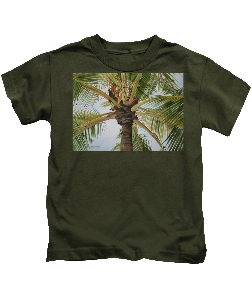 Palm Tree Kids T-Shirt featuring the painting Gecko Heaven by Jean Blackmer