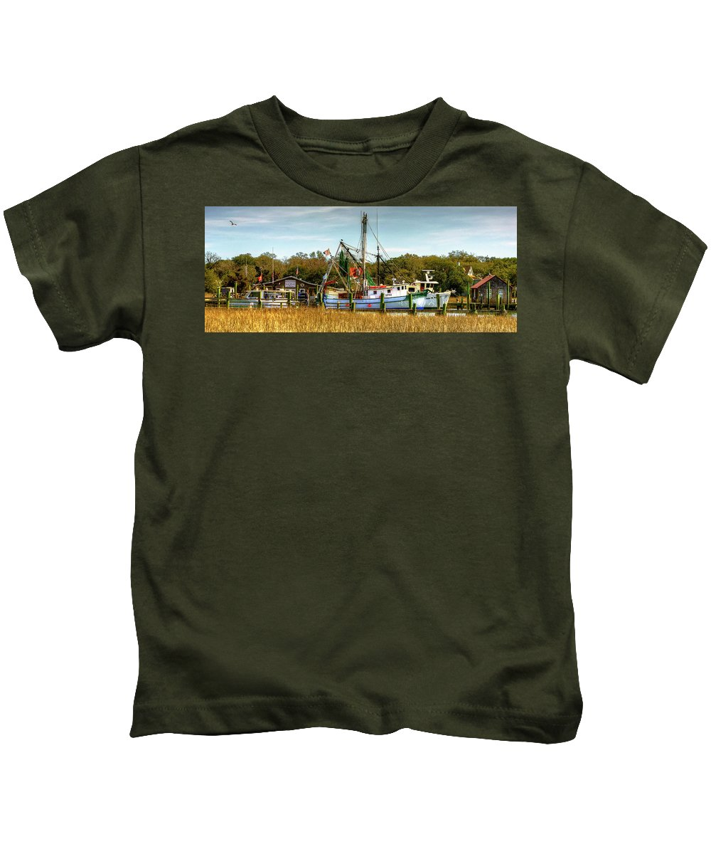 Geechie Kids T-Shirt featuring the photograph Geechie Seafood Shrimp Boats by TJ Baccari
