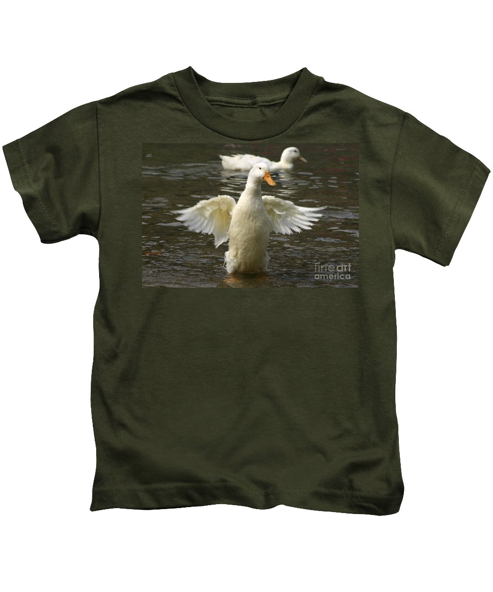 Ducks Kids T-Shirt featuring the photograph Geese In The Water by Danny Yanai