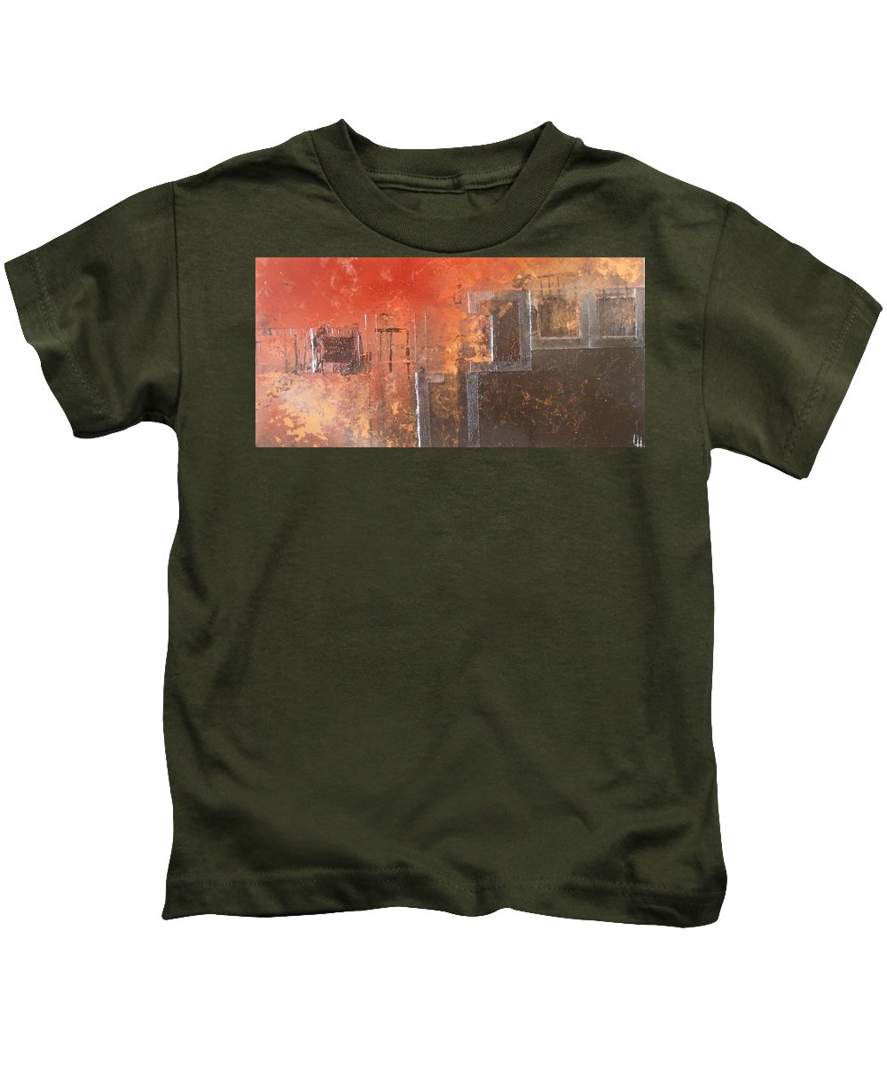 Canvas Kids T-Shirt featuring the painting Geometric Square by Leah Hicks