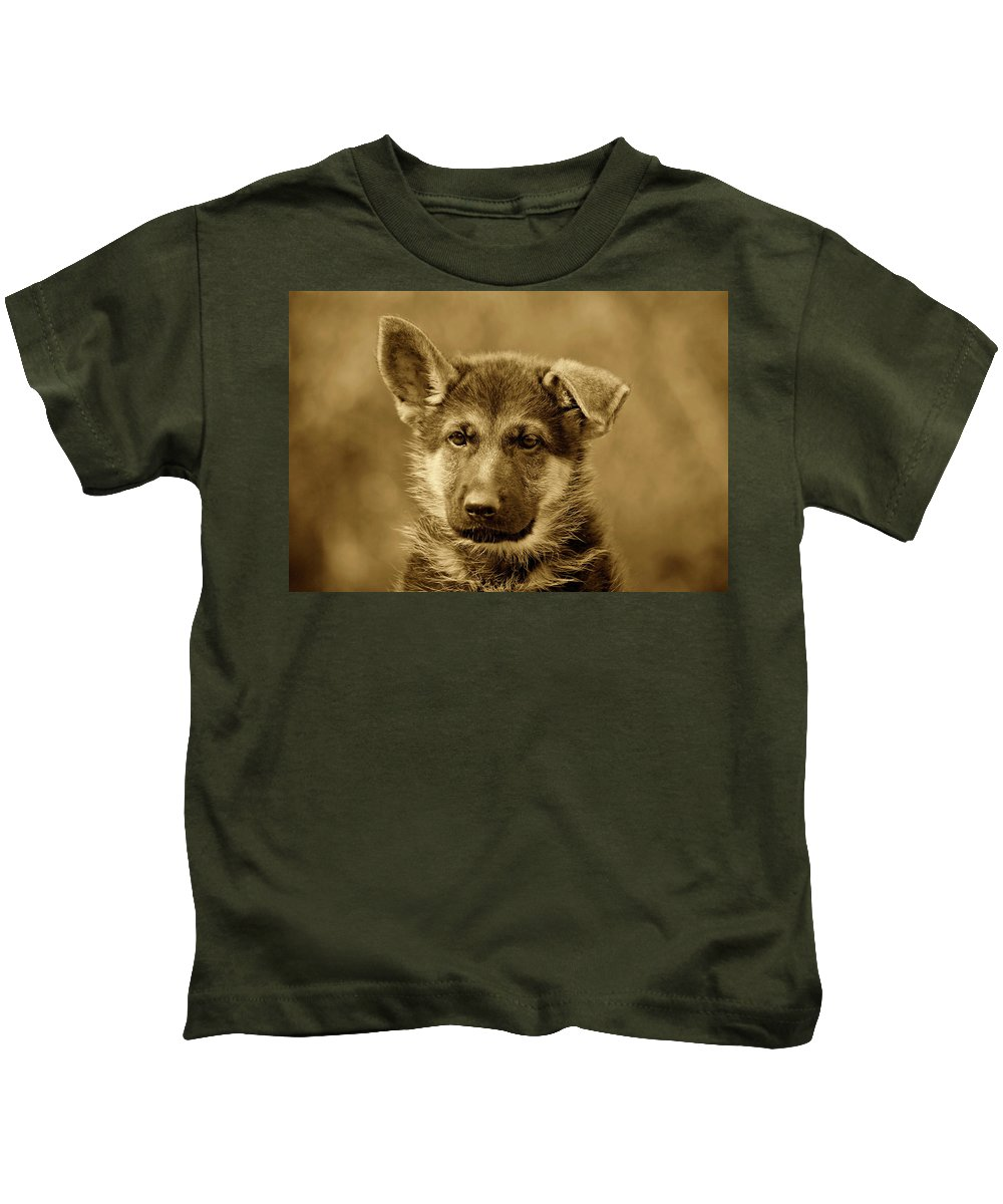 German Shepherd Kids T-Shirt featuring the photograph German Shepherd Puppy In Sepia by Sandy Keeton