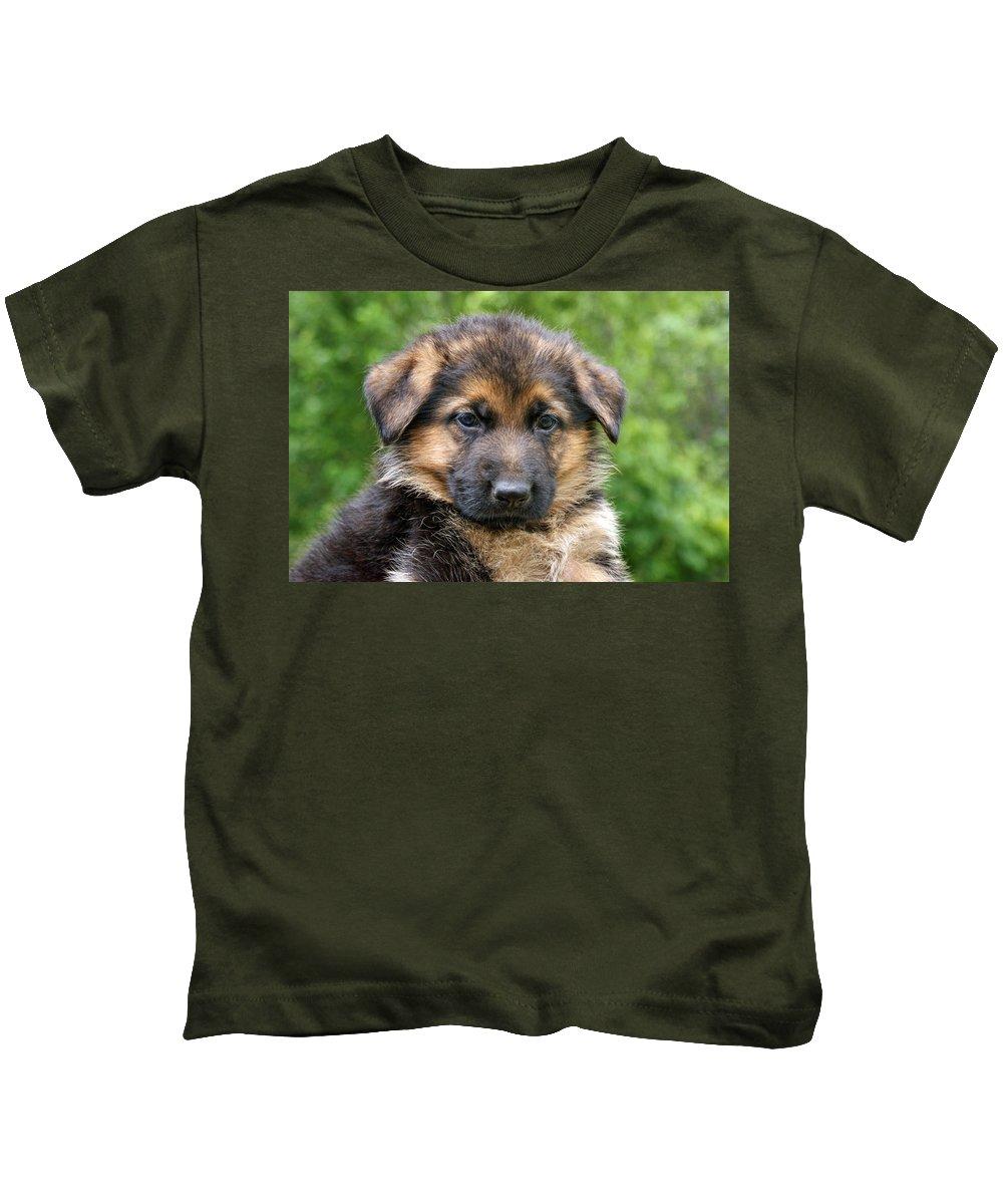 German Shepherd Kids T-Shirt featuring the photograph German Shepherd Puppy by Sandy Keeton