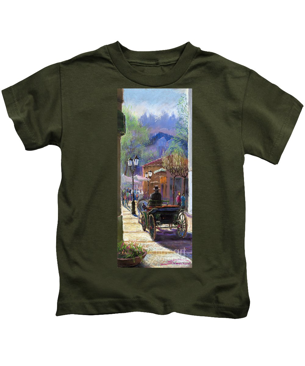Pastel Kids T-Shirt featuring the painting Germany Baden-baden Spring Ray by Yuriy Shevchuk