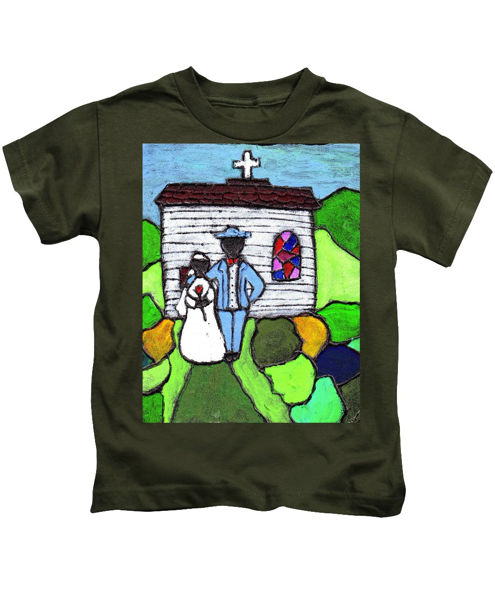 Folk Art Kids T-Shirt featuring the painting Getting Married Today by Wayne Potrafka
