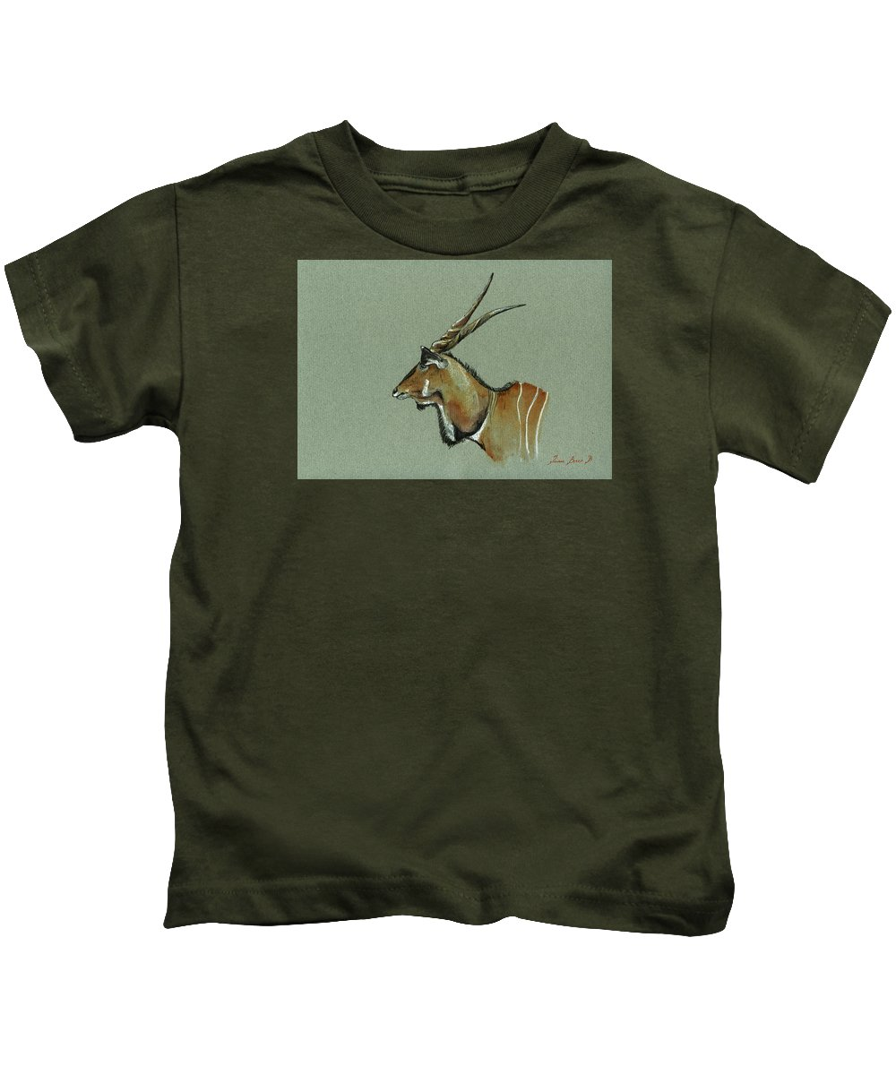 Eland Kids T-Shirt featuring the painting Giant Eland by Juan Bosco