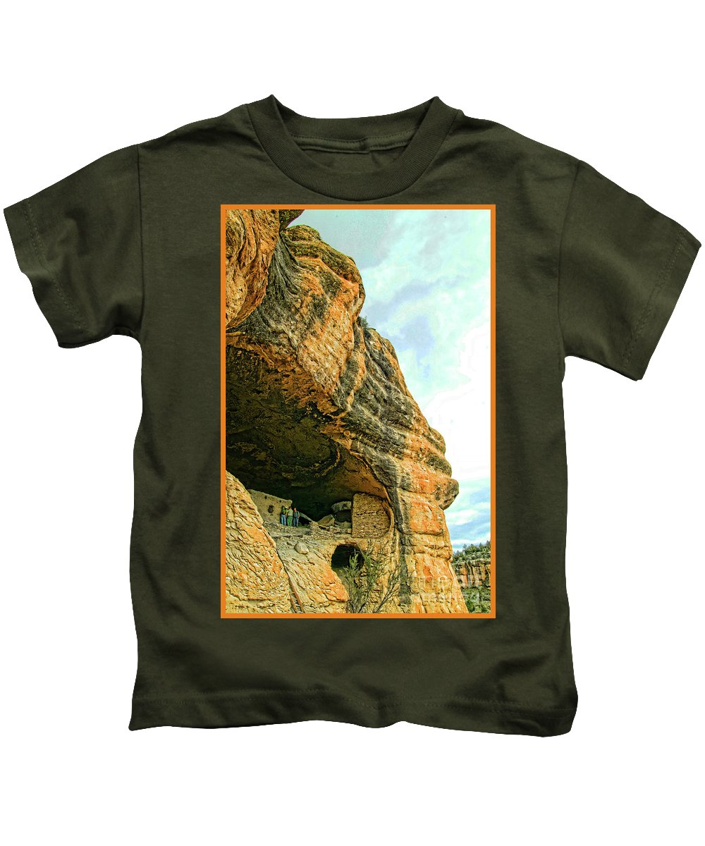Gila Cliff Dwellings National Monument Kids T-Shirt featuring the photograph Gila Cliff Dwellings Looking Up by Doug Berry