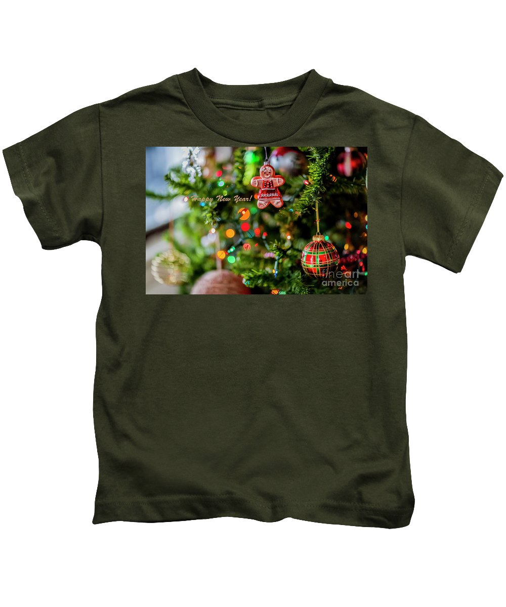 Gingerbread Man Kids T-Shirt featuring the photograph Gingerbread Man With Happy New Year 4350 by Doug Berry